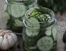 Pickled cucumbers in glass jars